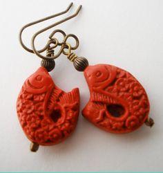 Sale,Cinnabar Earring,Red Cinnabar Earring,Carved Cinnabar Brass Earring,Chinese Cinnabar Jewelry,Asian Earring,Red Carved Fish bead