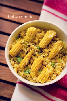 baby corn rice or pulao recipe – easy lunch recipe of a spiced baby corn pulao #vegetarianfood #vegrecipesofindia