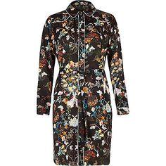 Zwarte overhemdjurk met bloemenprint - Overhemdjurken - jurken - dames