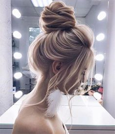 Simple Blonde High Buns See our collection of elegant prom hair upd. - Simple Blonde High Buns See our collection of elegant prom hair updos as this importan - Wedding Hairstyles For Long Hair, Braided Hairstyles, Cool Hairstyles, Hairstyles Haircuts, Headband Hairstyles, Hairstyle Ideas, Drawn Hairstyles, Evening Hairstyles, Updo Hairstyles For Prom