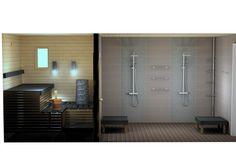 Kylpyhuone- ja saunasuunnitelma Colourline.   Colourline-kuviolaatoin toteutetut pystypaneelit rajaavat suihkujen paikat tässä pehmeiden sävyjen kylpyhuoneessa. Huomaa kahden eri värin käyttäminen Cello-saunassa. Saunaa voi myös sisustaa! www.k-rauta.fi