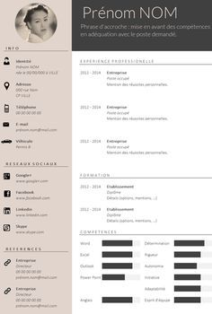 ✿ Envie d'un CV design et tendance ? Plus If you like this cv template. Check others on my CV template board :) Thanks for sharing! Cv Template Professional, Professional Resume, Template Cv, Resume Templates, Cv Design Template Free, Resume Cv, Resume Design, Basic Resume, Modern Resume
