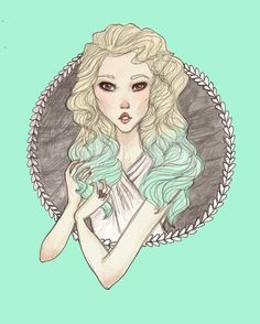 if i can't have mint ombre hair then i'll just have to draw it.