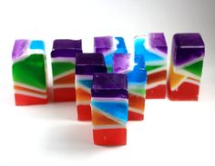 8 Stained Glass Soap Sticks - party favor, rainbow, glycerin, vegan, art deco, stained glass, ooak, wedding, shower favor, bridesmaid