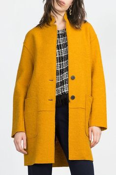 Solid Color Pockets Stand Collar Long Sleeves Woolen Coat