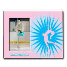 Personalized Figure Skating Wood Frame with Figure Skating Sunburst - Our 8in X 10in wood frame features a 4in X 6in opening to fit your photo and a customized area for your text.