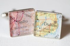 Map Cufflinks of Parents Home Towns: Put a little piece of your family's heritage in the wedding with these custom map cufflinks. This detail is fashionable and sentimental.