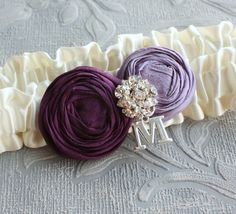 Bridal Garter in Ivory and Purple Personalized with by lolainlace, $32.00