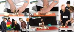 When Jin has better chopping skills than you do and you're a girl....then there's Rap Monster lol. | allkpop Meme Center