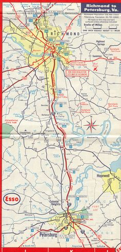 Richmond Area, 1961 - Close up of the Metro Richmond Area from the 1961 Esso Map. As you can see, the only completed Interstate Highways in the region are the parts of I-95 and I-85 that are routed along the Richmond-Petersburg Turnpike.