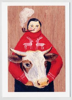 Greeting card - Farmer and Cow