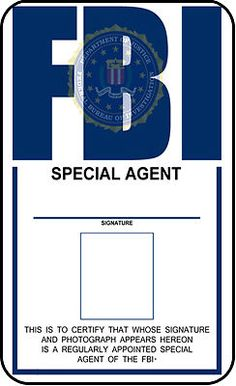 FBI ID template FBI Identification Card X-Files prop