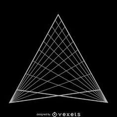 Illustrated sacred geometry design featuring a triangular grid. Triangle was made from lines and geometric shapes in gray tones over black. Triangle Vector, Triangle Design, Life Design, Design Art, Grid Design, Graphic Design, Sacred Geometry Triangle, Sacred Meaning, Triangular Pattern