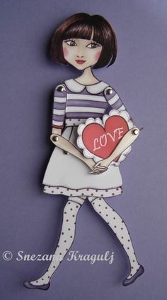 Another way to say I love you.   For Valentines Day,give your loved ones Valentina-sweet articulated paper doll, and with her, give your heart!