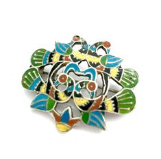 Excited to share the latest addition to my #etsy shop: Early Bird of Paradise Enamel Brooch, 4 Birds, Turquoise Green Yellow Red & Black Enamel, Open Metalwork, Early 20th Century, Gift for Her http://etsy.me/2nBjWez #jewelry #antiquebrooch #rainbow #birds #silvertone