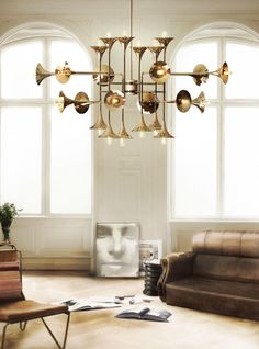 This selection of mid-century modern suspension luminaire gives you the light and the glamour for your home design. Luxury Chandelier, Chandelier In Living Room, Contemporary Chandelier, Room Lamp, Luxury Lighting, Living Room Lighting, Lighting Design, Lighting Ideas, Bedroom Chandeliers