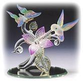 Spun Glass Hummingbird Figurines