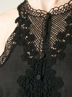 Black embroidered dress; sewing inspiration; close up fashion detail // Ermanno Scervino