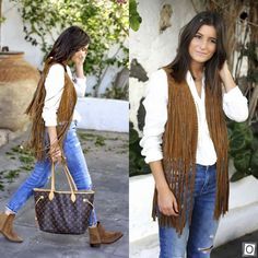 ZARA NEW 2015 BROWN REAL LEATHER SUEDE FRINGED WAISTCOAT JACKET VEST BLOGGERS @M #ZARA #Vest