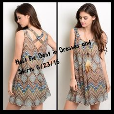 Flash SaleSummer Dress This sleeveless dress features a scoop neckline, tribal print all over, and a relaxed fit. This dress is a petite sizeIf you are unsure of what size to order,  just ask and I can provide measurements!! Material: 100% Polyester NO TRADES ✔️Reasonable offers considered✔️Please no low ball offers. Dresses