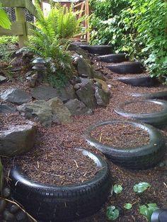 Gartenidee gebrauchte Autoreifen treppen machen