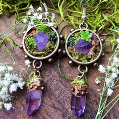 Amethyst and succulent earrings