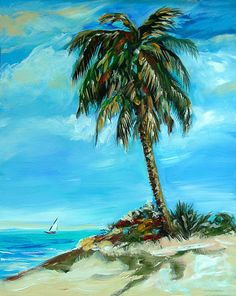 Teal Sky Palm by OlsenIslandArt on Etsy