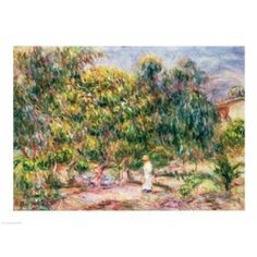 The woman in white in the garden of Les Colettes 1915 Canvas Art - Pierre-Auguste Renoir (24 x 18)