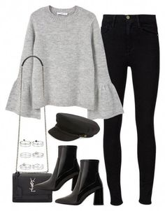 grey blouse with black jeans, black booties, and a caddy hat. Visit Daily Dress Me at dailydressme. Outfits With Hats, Mode Outfits, Winter Outfits, Casual Outfits, Fashion Outfits, Fashion Heels, Casual Heels, Fashion Clothes, Fashion Dresses