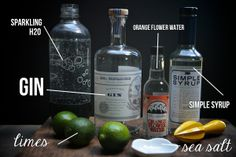 bombay fizz cocktail w/ gin, lime, orange blossom water, simple syrup, sea salt & seltzer