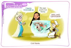 """Post with 255768 views. Disney's """"Pocket Princesses"""" (A Funny Comic by Amy Mebberson) Funny Disney Pictures, Funny Disney Jokes, Images Disney, Disney Memes, Disney Cartoons, Hilarious, Pocket Princess Frozen, Pocket Princess Comics, Disney Pixar"""