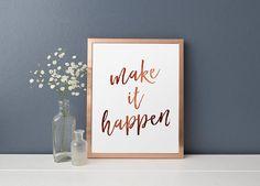 Motivational Quote Make It Happen Copper Calligraphy Copper