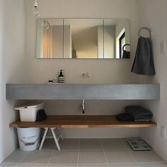 Best Ideas for modern lighting bathroom sinks Modern Bathroom Lighting, Modern Lighting, Concrete Candle Holders, Yellow Bathrooms, Bars For Home, Home Decor Bedroom, House Design, Mirror, Remodels