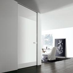 aluminium frame and bianco latte glossy glass