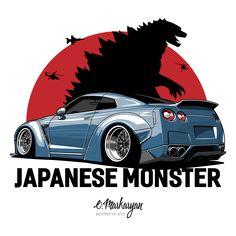 Japanese Monster (grey)' T-Shirt by OlegMarkaryan T-shirt for true fans Nissan GTR. Nissan Gtr R34, Nissan Skyline R33, Skyline Gtr, R35 Gtr, Nissan Navara, Tuner Cars, Jdm Cars, Cool Car Drawings, Japanese Monster