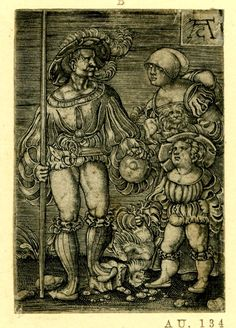 1520 - 1550 - Print made by: Allaert Claesz.  (After: Jacob Binck)  A soldier holding a wooden shaft of a spear or pike with his wife (carrying a pet dog) and son (holding a chicken by the legs); copy after Jacob Binck (Hollstein 159) Engraving