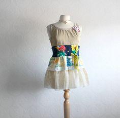 Shabby Chic Babydoll Top Tan Upcycled Shirt by BrokenGhostClothing, $59.00