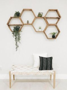 DIY Hexagon shelves are an easy way to add fuction and style to any room. Wooden hexagon shelves take less than an hour to DIY. Honeycomb Shelves, Hexagon Shelves, Decorative Wall Shelves, Living Room Designs, Living Room Decor, Bedroom Decor, Modern Bedroom, Bedroom Designs, Master Bedroom