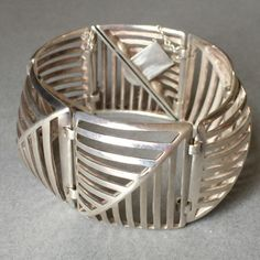 "Gallery925 - Georg Jensen Sterling Silver ""Grates"" Bracelet No. 389 by Nanna Ditzel, Handmade Sterling Silver"