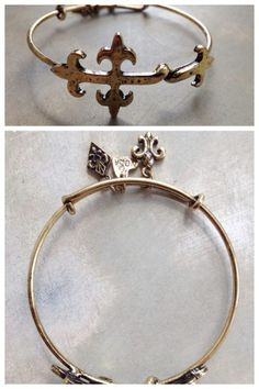 Fleurty Girl - Everything New Orleans - Cross Fleur de lis Charm Bangle Bracelet, $38. Bangle Bracelets With Charms, Bangles, I Love Jewelry, Jewelry Box, Saints Gear, Orleans, Charmed, My Style, Gold