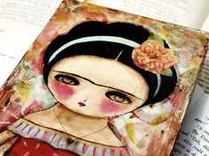 Valentine Frida - Original Mixed Media Collage Painting On Wood By Danita Art (6x12 Inches)
