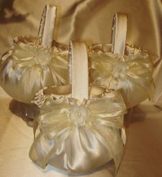 SALE PRICE:  3 Custom  Flower Girl Baskets   YOUR COLORS;   ALL THESE LOVELY ITEMS ARE AVAILABLE IN MY EBAY STORE  KRINGLE3  .  THEY CAN HAVE YOUR  CUSTOM COLORS FOR THE SATIN AND THE  BOWS.  PLEASE SEE MY STORE FOR ALL THESE ITEMS AND MORE  . ALL IN CUSTOM COLORS AND QUANTITIES AT GREAT PRICES.  LET ME HELP YOU TO MAKE YOUR WEDDING SOMETHING UNIQUE AND COLORFUL .