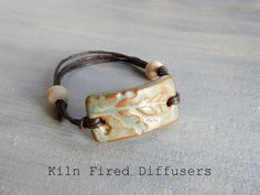 Olive Green Diffuser Bracelet for Essential by KilnFiredDiffusers