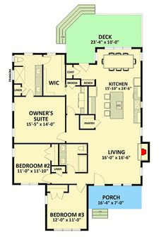 Compact Traditional House Plan – floor plan – Main Level by cheryluskoski Beach House Plans, Country House Plans, Dream House Plans, Modern House Plans, Small House Plans, House Floor Plans, Architectural Design House Plans, Architecture Design, Architecture People