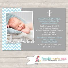 Printable Blue and Grey Chevron Baptism Invitation. Perfect for your little ones Baptism celebration. I do not print or ship. These are