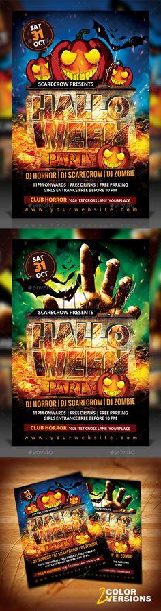 Halloween Party Flyer Template #design Download: http://graphicriver.net/item/halloween-party-flyer/12642388?ref=ksioks