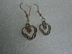 Silver Leaf Heart Earrings Valentines Day by CathysCreationsPlus