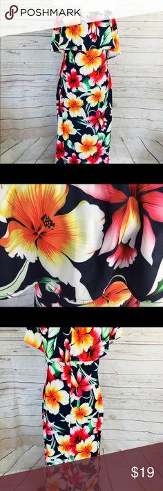 3a2b6904ed Hawaiian Maxi Dress Off The Shoulder Hibiscus Pink Of the shoulder maxi  dress. Has side zip. Size XL Measurements taken flat: Bust: 18 across  Waist: Hips: ...