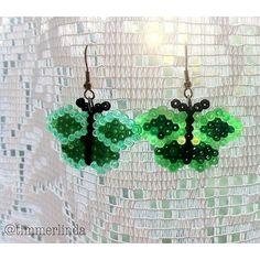 Butterfly earrings mini perler beads by timmerlinda