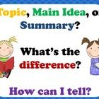These posters help students decipher the difference between the topic, main idea, and summary of a text.  The posters provide definitions and kid-f...